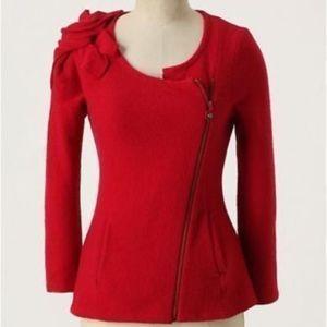 Sleeping On Snow Red Wool Whirlpetal Cardigan L